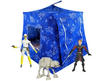 Toy Pop Up Tent, Sleeping Bags, royal blue, sparkling silver star print fabric