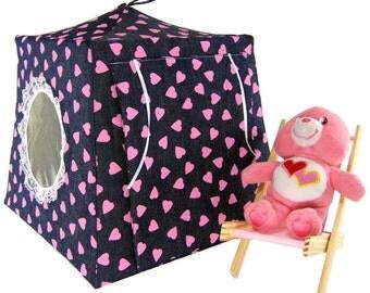 Toy Pop Up Tent, Sleeping Bags, navy blue denim, pink heart print fabric for stuffed animals, dolls