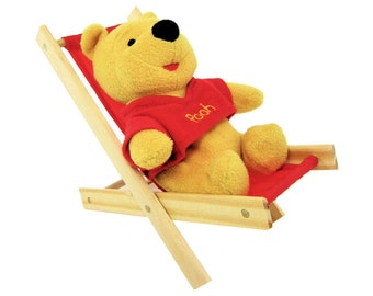 Toy Wooden Folding Lounge Chair, red fabric