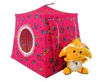 Toy Pop Up Tent, Sleeping Bags, dark pink, flower print fabric