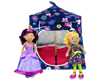 Toy Pop Up Tent, Sleeping Bags, navy blue, flower print fabric for dolls, stuffed animals