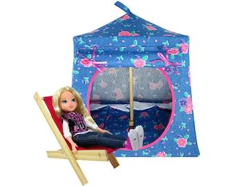 Toy Pop Up Tent, Sleeping Bags, light blue, flower print fabric