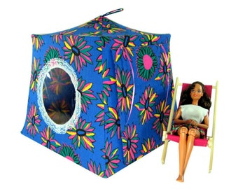 Toy Pop Up Tent, Sleeping Bags, blue, daisy print fabric for dolls, stuffed animals