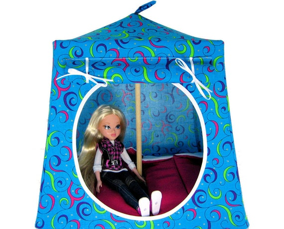 Toy Pop Up Tent, Sleeping Bags, turquoise, swirl print fabric