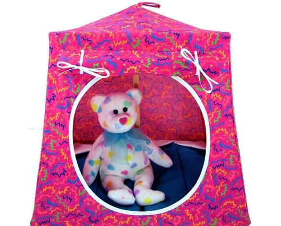 Toy Pop Up Tent, Sleeping Bags , pink, zig zag print fabric