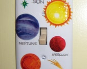 Planets and stars steel single lightswitch cover - glow in the dark