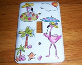 Pink flamingos steel single lightswitch cover