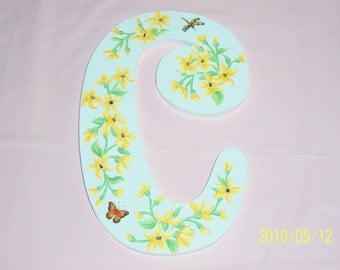 Yellow Floral Wood C Initial, Baby Gift, Nursery, Childs Room, Butterfly, Dragonfly, Swarovski Crystals