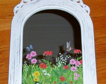 Ornate field of flowers wood mirror - swarovski crystals