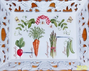 "Ornate ""Veggie"" wood tray"