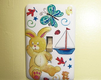 Baby themed steel single light switch cover