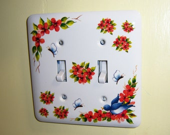 Blue Bird Steel Double Light Switch Cover, Vibrant Colors, Flower Sprays, Birds, Butterflies