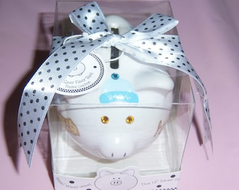Baby Boy Mini Piggy Bank, Baby Gift, Nursery, Swarovski Crystals, Rocking Horse, Stars and Moon