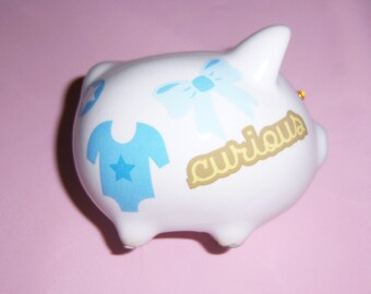 Baby Boy mini piggy bank - swarovski crystals