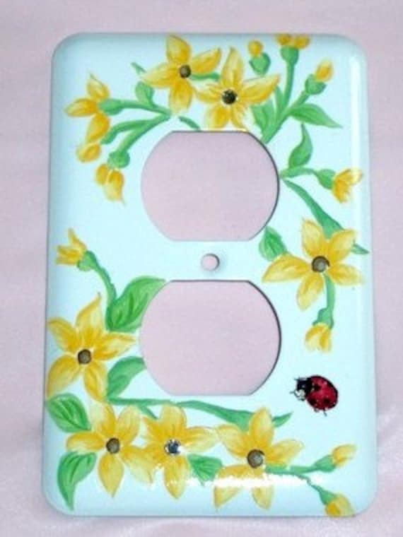 Yellow floral steel outlet cover - clear swarovski crystals