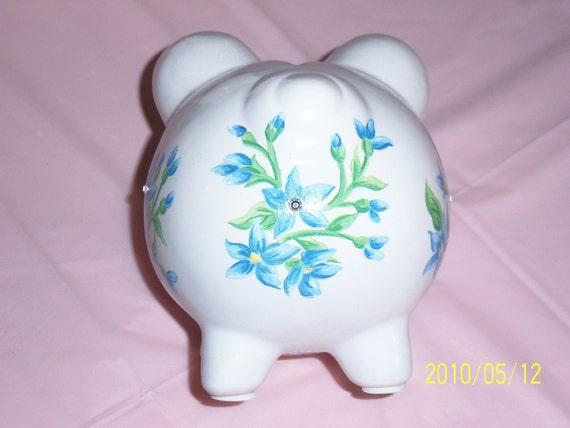 Blue ceramic piggy bank - swarovski crystals