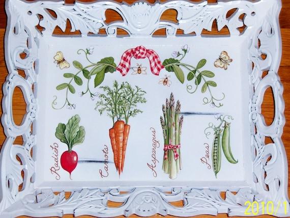 "Ornate ""Veggie"" wood tray"