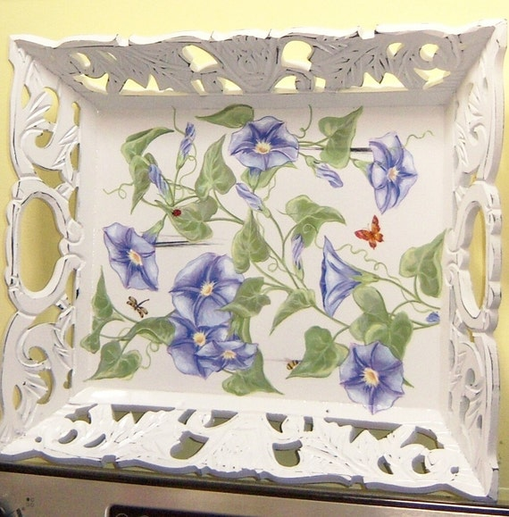 Ornate morning glories wood serving tray