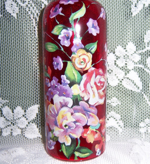 Reserved for LeeAnn - Red vase - multi floral - swarovski crystals