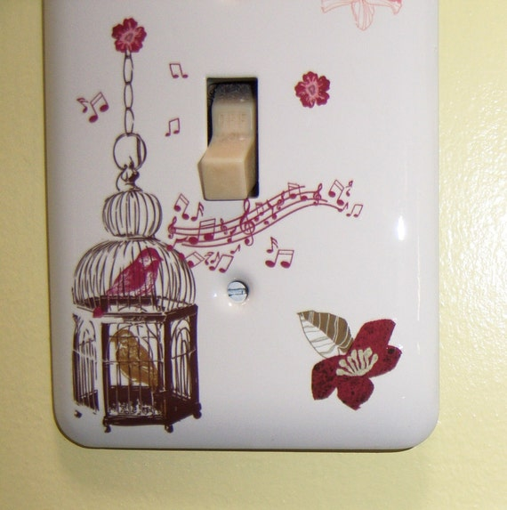 Song bird themed steel single light switch cover