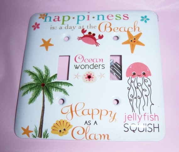 Happy as a Clam steel double light switch cover - swarovski crystals