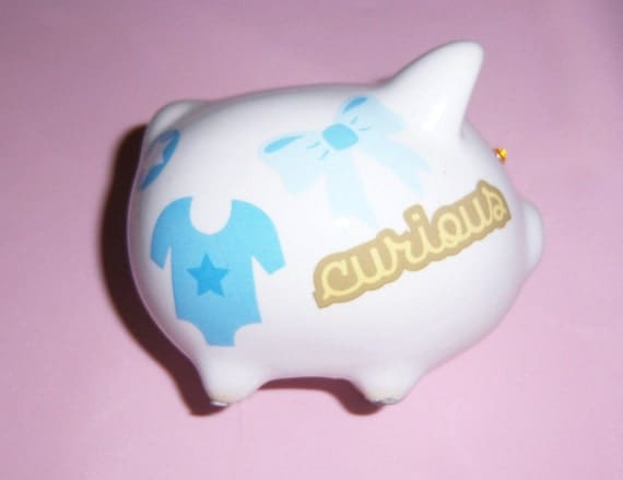 Baby Boy mini piggy bank - swarovski crystals