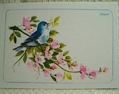Vintage Postcard Bluebird of Happiness Bird on a Branch