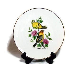 Vintage Decor Plate Bird Art  Western Tanager Bavarian China Waldsassen