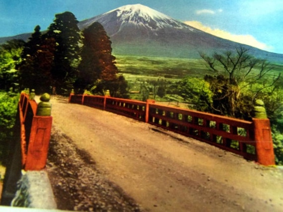 Vintage Japanese Photo Postcard Mt Fuji Takimoto Bridge 1940s 1950s