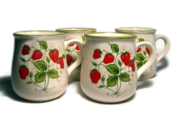 Strawberry Mugs Vintage Stoneware Cups Set of Four Wild Strawberries