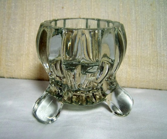 Vintage Candleholder Footed Candlestick Pressed Glass 1940s 1950s Decor