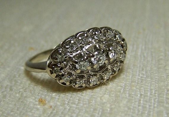 Vintage Diamond Ring Size 6 White Gold Cluster 1930s Art Nouveau