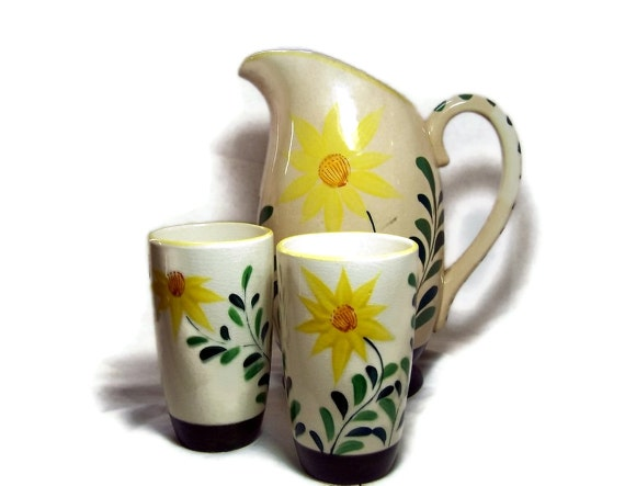 Vintage Floral Water Pitcher and Glasses Hand Painted Yellow Nasco China
