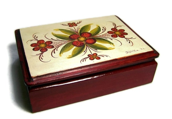 Vintage Card Box Wood Box Tole Painted Home Decor Red Storage Box