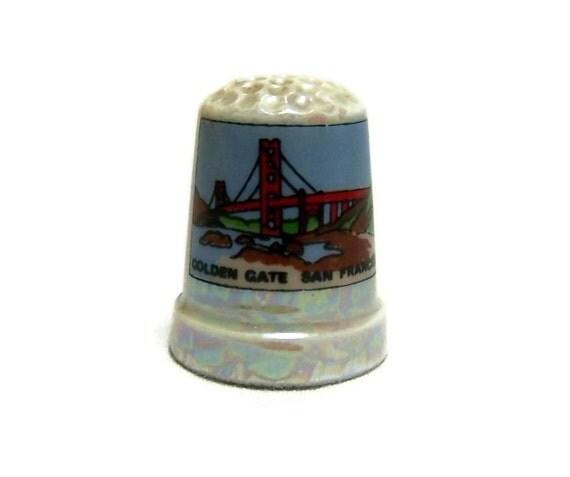 Vintage Golden Gate Bridge Souvenir Porcelain Thimble San Francisco