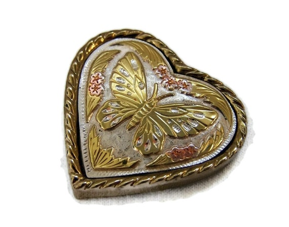 Vintage Heart Brass Belt Buckle Womens 1980s Accessory Butterfly