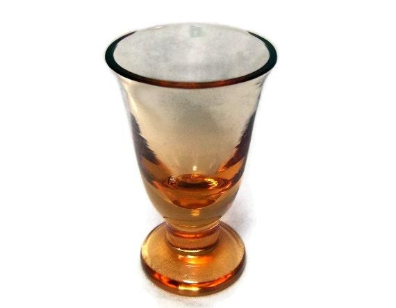 Vintage Footed Shot Glass Orange Honey Amber Pedestal Vintage Barware