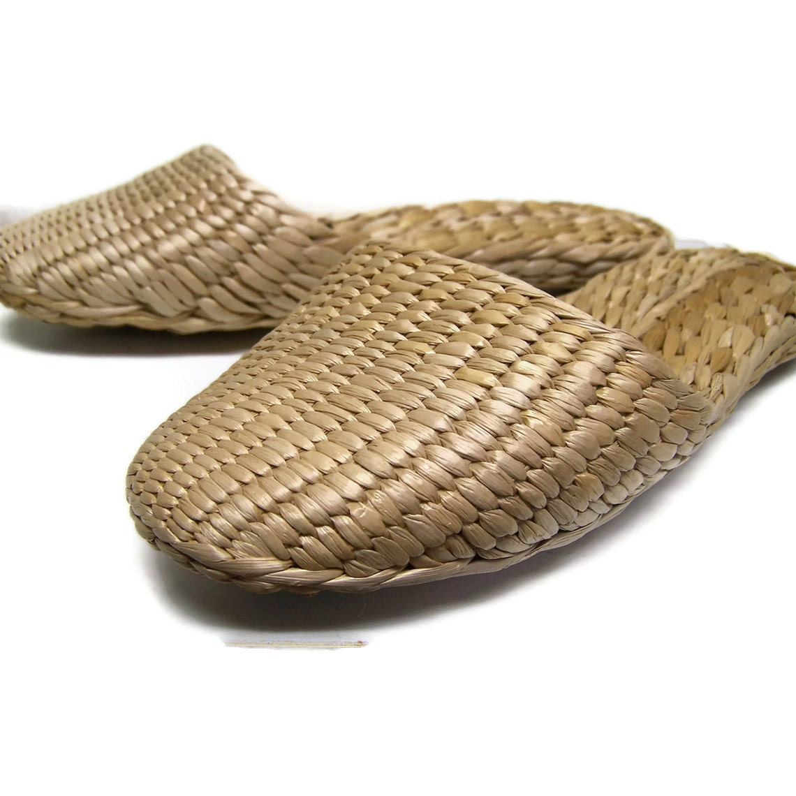 Eco Friendly Slippers: Vintage Grass Slippers Unisex Asian Slippers Eco Friendly