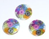 6 pcs. mother of pearl printed round flat beads m 30mm PSHEL-S149