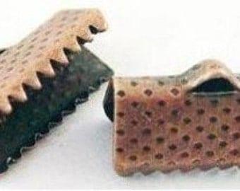 Copper Ribbon Pinch Crimps Cord Ends 7 X 13 mm 100 pcs.