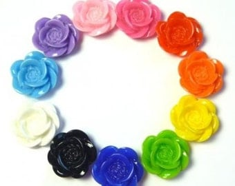 Flower Cabochons 20mm Resin Roses Set of 22