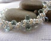 Pearls with Blue Topaz and Aqua Quartz Briolette Bracelet. Weddings. White. Bright. Special Day.