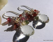 Green Amethyst Earrings with Tourmaline, Sapphires, Citrine and Garnets.