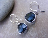 Navy Blue Glass Pendent Earrings in Matte Silver.
