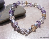 Ametrine and Silver Swirl Bead Bracelet.