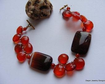 Burnt Orange Chalcedony with Dark Ribbed Agate Bracelet.  Orange. Briolettes. Gold Filled.