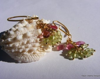Peridot and Tourmaline Drop and Cluster Earrings.