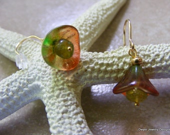Flowers of Green and Orange with Vessonite Earrings.