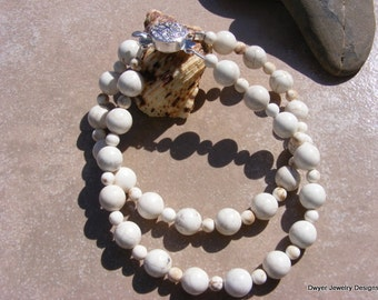 White Turquoise Bracelet with Silver Box Clasp.