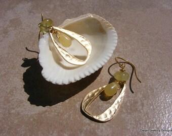Yellow Jade and Prenite Earrings in a Gold Matte Hoop Design.